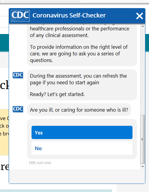 CDC self checker chat box